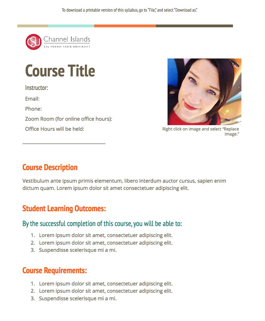 syllabus template #2