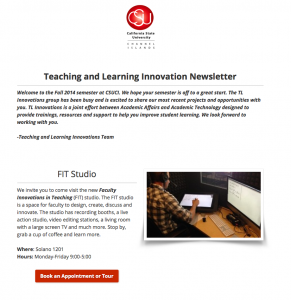 Screenshot of the Fall 2014 TLInnovations@CI Newsletter