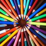 Array of colored pencils