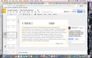 To give students feedback, use the 'comment' feature in Google Slides.