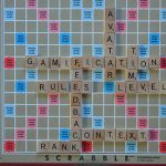 Scrabble board with Gamification, Avatar, Level, Rules, Feedback, Context, Rank, and Time played