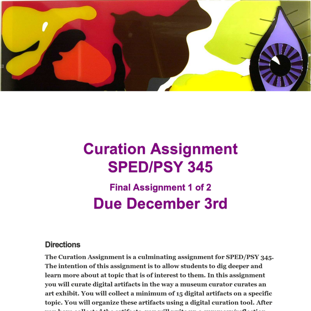 Curation assignment example
