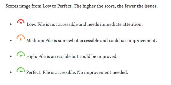 Screenshot of the list of four accessibility health gauges