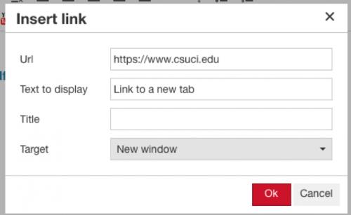 Insert link window