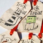 Trick or Treat tags on ribbon