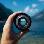 Mountain lake in a camera lens