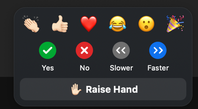 Screenshot of reactions menu in Zoom: top row of emojis for applause, thumbs up, heart, joy, open mouth, and tada (celebration). The second row is non-verbal feedback options: Yes, No, Slower, and Faster. The bottom row is the Raise hand button.