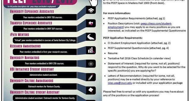 PEEP Student Staff Hiring Information