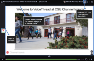 A VoiceThread slide showing a comment, central media, and how to turn captions on or off.
