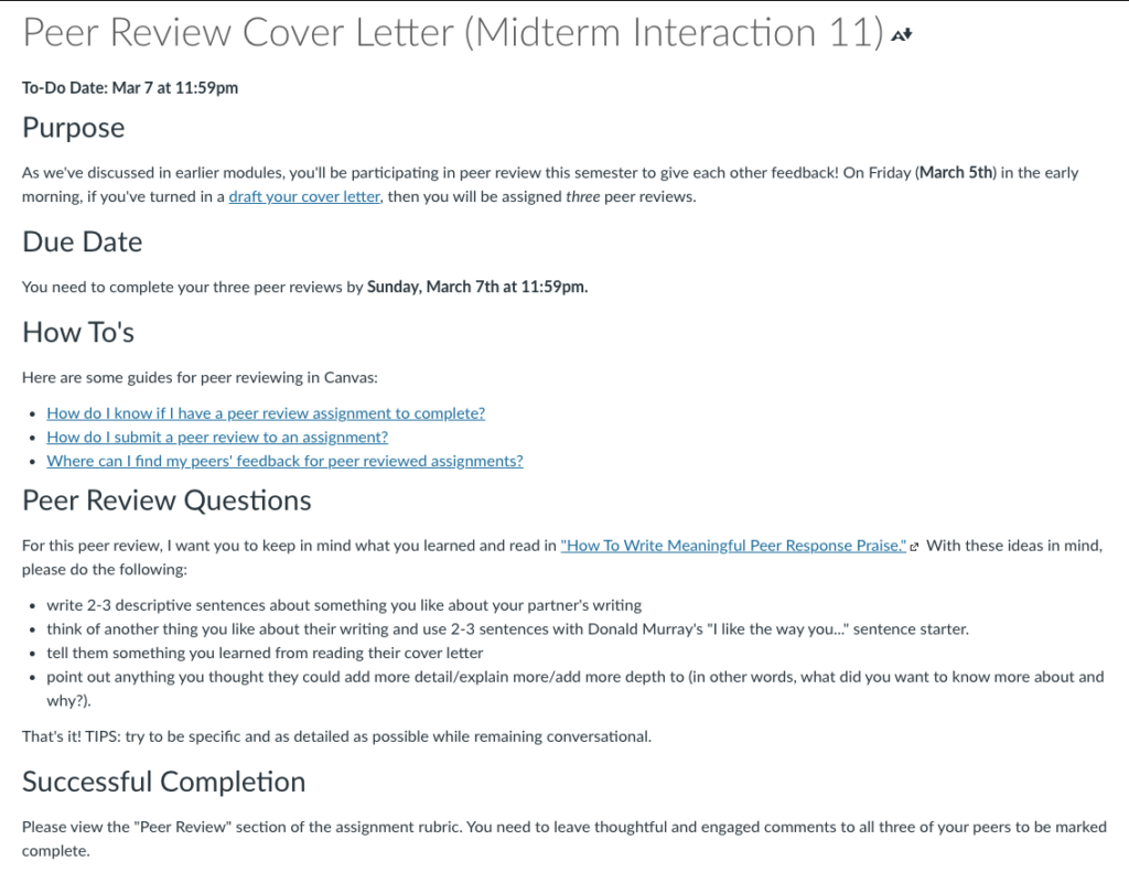 """A screenshot of the """"Peer Review Cover Letter"""" page showing the transparent assignment design of the activity. It includes the purpose, due date, how-to guide links, peer review questions, and successful completion criteria."""